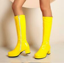 Candy Color Patent Leather Round Toes Block Heels Womens Knee High Boots fu90