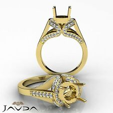 Diamond Engagement Semi Mount F-G Color Halo Ring 18k Yellow Gold 1.2Ct VS1-VS2