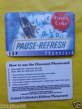 cartes de telephone 1997 phone cards 50 P coca cola coke the coke telefonkarten