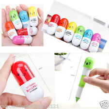 Lot 12 PCS Cute Retracted Ball Point Pen Vitamin Pill-Shaped Great Small Gift