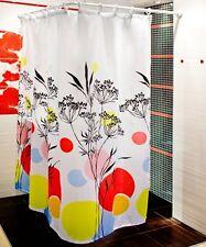 Cortina de ducha tela 180x200 Hierbas colores Rojo Negro Amarillo Blanco +