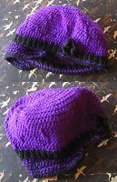HAND KNIT CROCHETED W/LOVE True Vtg 70s WOOL PURPLE HIPPIE FLOP WINTER CAP HAT