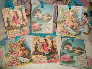 6 Beautiful Vintage Perfume Ads REPRO Gift Tags Ornaments Handmade Glittered