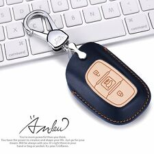 Leather Key Holder Case Cover 3 Button For Hyundai Elantra 2017+