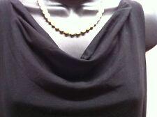 Eileen Fisher PP Black Rayon Lycra Cowl Neck Asymmetric Flare Hem Dress