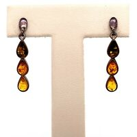 VTG Estate Navajo Sterling Silver & Amber Pierced Earrings Set! 65