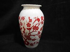 Anchor Hocking Milk Glass Two Sided Vase Red Cherry Blossom Birds Lotus Flower