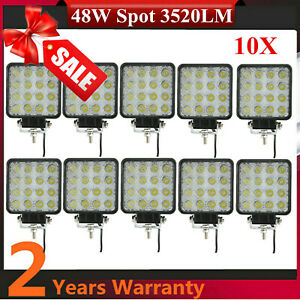 10X 48W 12V 24V Lamp Led Work Light SPOT Boat Tractor Truck Offroad SUV UTE 4WD