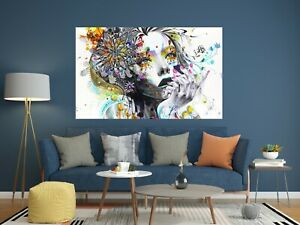 Colourful Abstract Girl Flower Wall Art Large Framed Canvas Picture