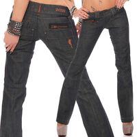 Designer Cassie Top Damen Stoff Jeans Hüfthose Hose Bootcut Schwarz Damenjeans