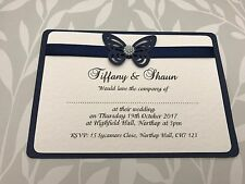 Navy Blue Butterfly & Pearls Wedding Invites With Matching Ribbon
