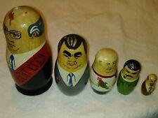Vintage Cccp Russian Soviet Political Leaders 5 Nesting Dolls Matryoshka