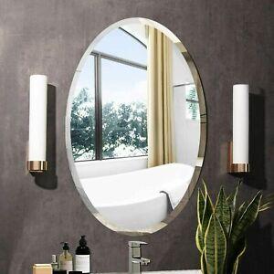 Frameless Unframed Bathroom Mirror with Fixings hooks hang 2 way Bevelled corner