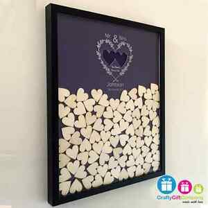 Personalised wedding drop box guest book with 65 hearts and coloured background