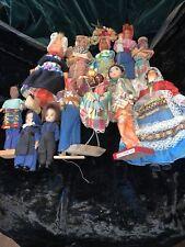 Vintage Lot of 12 Dolls World International Ethnic Cloth Plastic Collection 1950