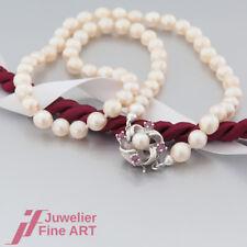 Schnäppchen: KETTE-Akoya- Zucht-Perlenkette mit Verschluss in 925 Silber - Rubin