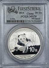 2014 China Panda 1oz silver coin (10 yuan) PCGS MS70 First Strike