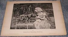 Antike viktorianische Frau Gartenbank Deutsche Wolfhound Hund istrischen Hund Print