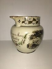 Staffordshire Enamel Decorated Pearlware Presentation Pitcher 1818 Hunting