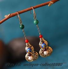 Fashion Women Pearl/Cloisonne Enamel/Malachite Gourd Earrings Ear Stud Pair 0322