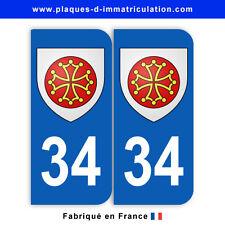Stickers pour plaque département 34 Hérault (jeu de 2 stickers) blason