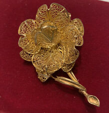 Vintage Filigree Sterling Silver Gold Wash Flower Brooch Pin