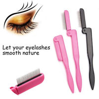 Foldable Eyelash Comb Mascara Separator Lash Curl Metal Eyebrow Brush Tools 2018