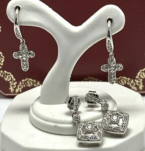 .925 Sterling Silver Diamonique Diamond Round Cut Drop Lot of 2 Pair Earrings