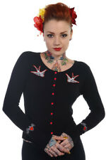 BANNED Cardigan Zombie Swallows Rockabilly Goth Long Sleeve 10 12 Black White L (uk 14)