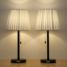 Set of 2 Bedside Table Lamps with White Lampshade for...