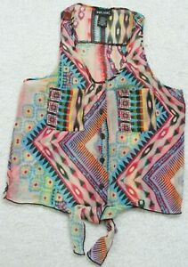 Small Crewneck Sleeveless Shirt Top Button Up Multi Colored Polyester Wet Seal