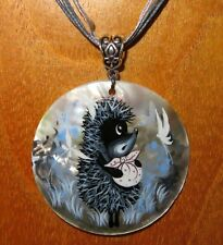 Pendant Hedgehog in the fog Genuine Russian Shell hand painted CUTE BABY cartoon