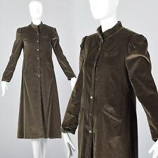 XS 1970s Coat Brown Velvet Maxi Coat Long Sleeves 70s VTG Midweight Jacket