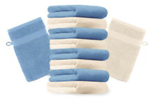 Betz Set di 10 guanti da bagno Premium misure 16 x 21 cm 100% cotone beige e azz