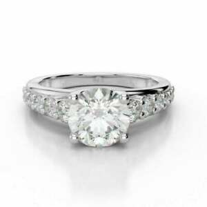 2.60 Ct Round Diamond Engagement Promise Ring 14K Solid White Gold Rings Size 5