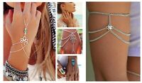 Womens Silver Tone Slave Bracelet Hand Harness Chain Boho Ladies Armlet Bracelet