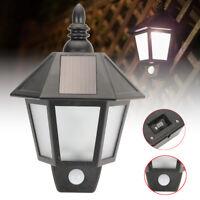 Solar Powered PIR Motion Sensor Security Wall Light Outdoor Lantern Garden Lamp