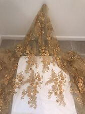 "GOLD MESH W/3D FLOWER EMBROIDERY BEADED LACE FABRIC 50"" WIDE 1 YARD"