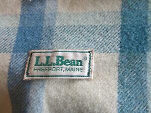 "LL Bean Vintage Wool Blue Pink Plaid Blanket Twin 66"" x 94"""