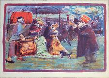 Mino MACCARI Partenza per l'esposizione universale litografia originale firmata