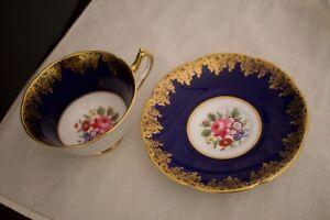 Vintage COLLINGWOOD English Bone China Floral Gold Rose Flowers CUP & SAUCER