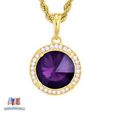 """Men's Iced 14k Gold Plated PURPLE Ruby CZ Pendant 24"""" Chain Necklace KC 7966 GPU"""