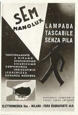 W0961 Lampada tascabile senza pila Sem Manolux - Pubblicità 1940 - Advertising