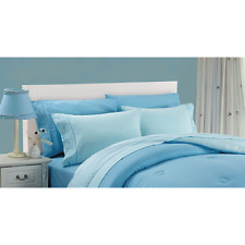 AUDLEY Home ORGANIC Cotton 300TC 4Piece CAL KING Size Sheet Set BLUE NIP