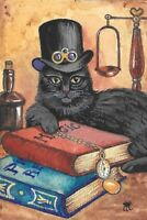 4X6 HALLOWEEN POSTCARD PRINT LE 1/200 RYTA BLACK CAT WITCH STEAMPUNK MAGIC ART