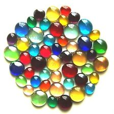 50 x Mixed Rainbow Glass Mosaic Lead Light Gem Stones - Assorted Colours & Sizes