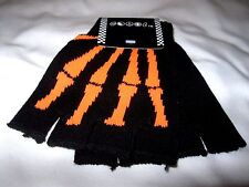 Black with Neon Orange Skeleton Bone Fingerless Gloves-Skeleton Gloves Halloween