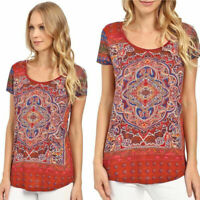 Lucky Brand Persian Carpet Graphic Tee Scoop Neck Short Sleeve Multi Women Small