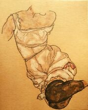 Egon Schiele Female Torso In Lingerie And Black Stockings Hand Signed Lithograph