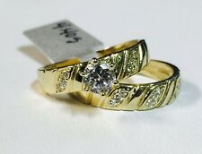 Solid 14K Yellow Gold Cubic Zirconia Wedding Enagagement Ring Set Sz 7.5, 5mm CZ
